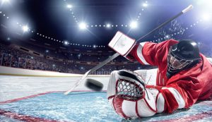 Ice Hockey golie in action
